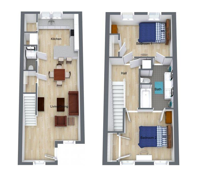 2 Bed | Master Bath – Floor plan of two bed, master and half bath unit