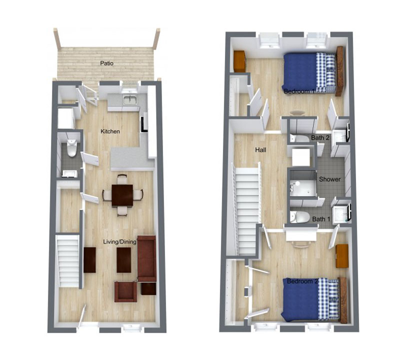 2 Bed | 2 Bath – Floor plan of two bed, two bath unit