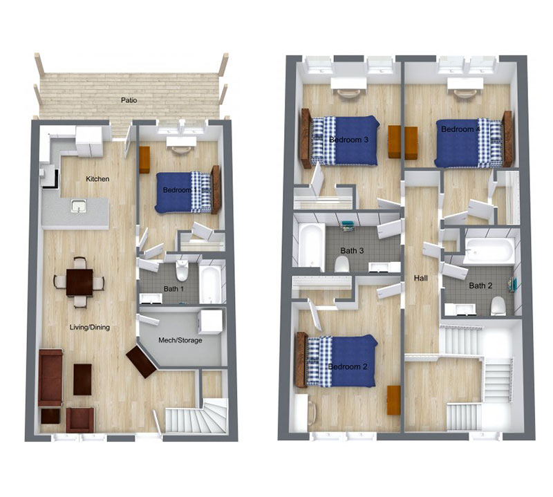 4 Bed | 3 Bath – Floor plan of four bed, three bath unit