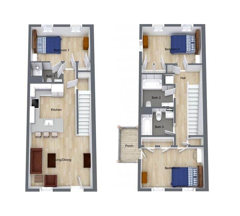 3 Bed | 3 Bath – Floor plan of three bed, three bath unit